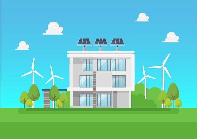 친환경 모던하우스. 녹색 에너지 태양열 및 풍력. 벡터 일러스트 레이 션