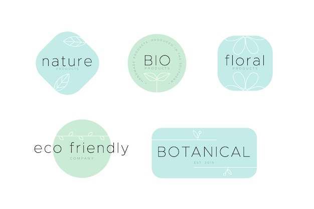 Eco-friendly natural business logo set