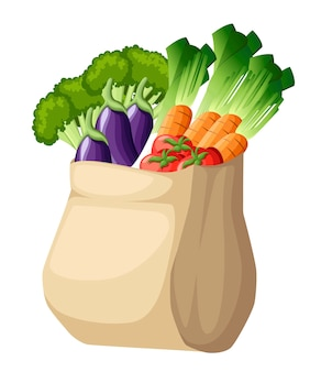 Eco friendly paper bag. recycled shopping bag with vegetables. recycled pack with fresh organic food. healthy vegetables grown locally.  illustration  on white background.