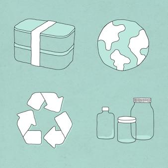 Eco-friendly product doodle illustration set