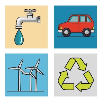 Экологически чистый связанных объектов значки, набор на белом фоне векторные иллюстрации