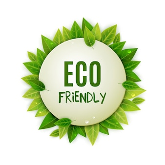 Eco friendly round logo with green leaves