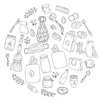 Eco friendly set of doodles in a circle. ecological and zero-waste collection of items. go green