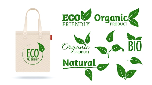 Eco friendly shopping bag. realistic textile pack for organic shop. natural products labels leaves icons