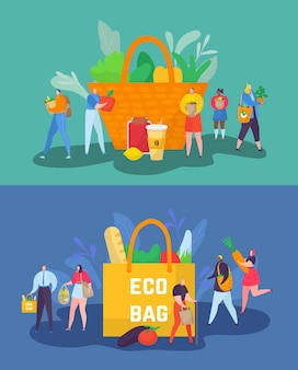 環境にやさしいショッピングコンセプトベクトルイラスト小さな男と女のキャラクターは惑星の生態を気にしています...