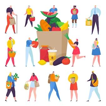 有機野菜のイラストがいっぱいの紙箱でエコフレンドリーなショッピングの人々。