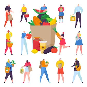 Eco friendly shopping people with paper box full of organic vegetables illustration.
