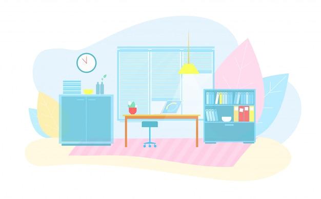 Eco friendly smart office interior flat cartoon