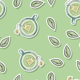 Eco friendly spa seamless pattern with green tea and leaves. go green living