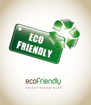 Eco friendly tag with recycle sign over brown background. vector