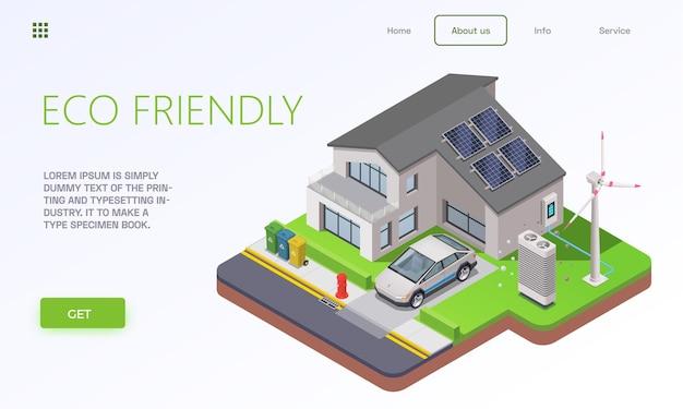 環境にやさしい技術のアイソメトリックランディングページ