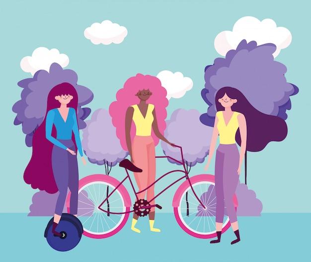 Экологичный транспорт, группа женщин с изображением персонажей мультфильмов для одноколесных и велосипедных велосипедов