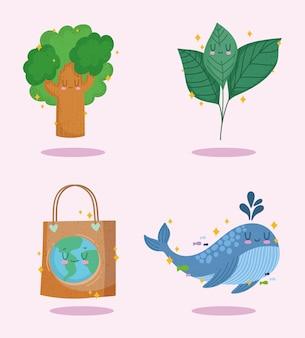 에코 친화적 인 나무 종이 가방 아이콘 세트
