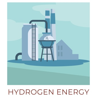 Eco friendly ways and technologies of generating and accumulating power from natural resources. hydrogen energy plant or fabric producing electricity. generators with tubes vector in flat style