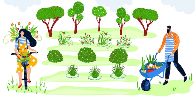 Eco gardening flat vector illustration happy gardener people have fun, farmer characters enjoy agriculture work in green garden with fruit trees and flowers, eco farming agricultural hobby