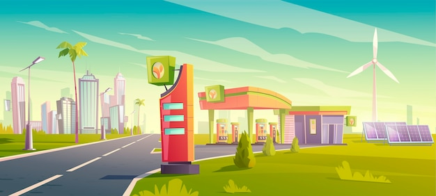 Eco gas station, green city car refueling service, nature friendly petrol shop with windmills, solar panels, building and price display