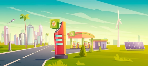 Eco gas station, green city car refueling service, petrol shop with windmills, solar panels, building, price display on cityscape space, urban vehicle fuel sellings