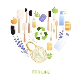 Плоская композиция эко-товаров с набором изолированных вторсырья и редактируемым текстом в форме сердца