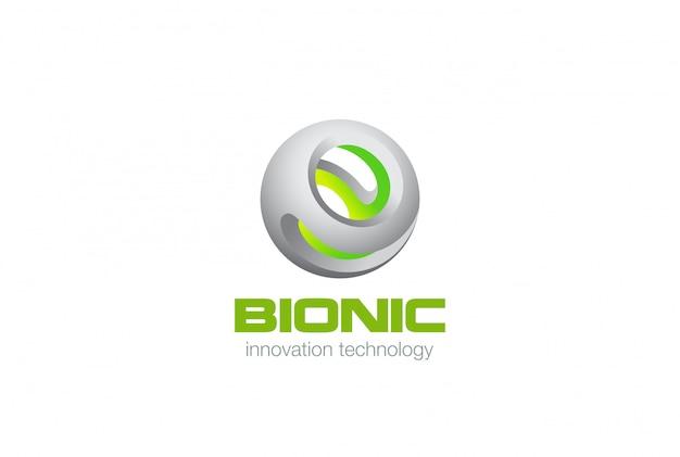 Eco green bio sphere technology logo icon.