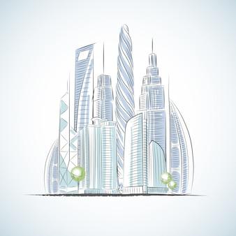 Эко зеленые здания иконы небоскребов изолированных эскиз v Бесплатные векторы