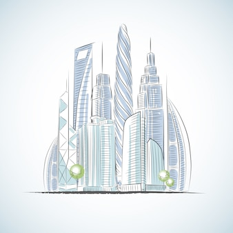 Eco green buildings icons of skyscrapers isolated sketch v