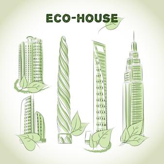 Эко-зеленые иконки зданий