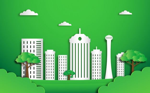 Eco green city in paper cut style