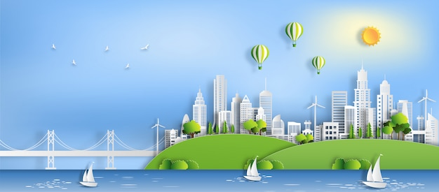 Eco green city, save the planet and energy concept