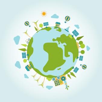 Eco green energy lifestyle planet world on globe flat illustration. ecology concept.