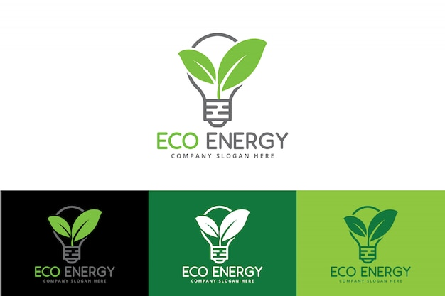 Eco green energy logo with bulb and leaf