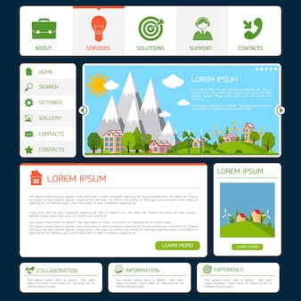 Eco green energy nature web site design template with navigation buttons vector illustration