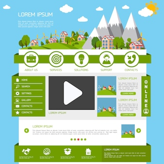 Eco green energy nature website design template layout interface vector illustration