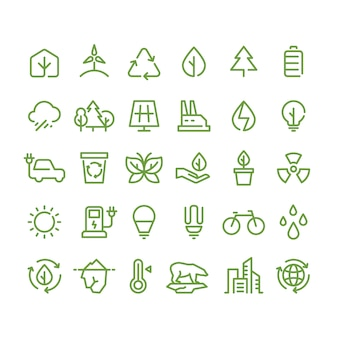 Eco and green environment  line icons, ecology and recycling outline symbols