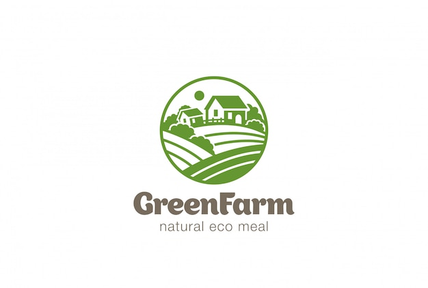 Eco green farm circle  logo vector vintage icon.