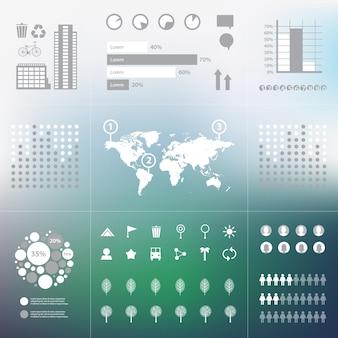 산만 된 배경에 세계지도 설정 에코 그린 인포 그래픽