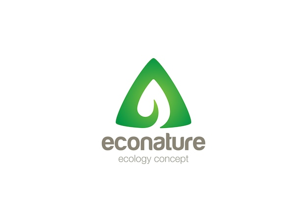 Eco green leaf logo    . negative space style.