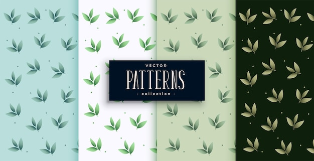 Eco green leaves pattern set design