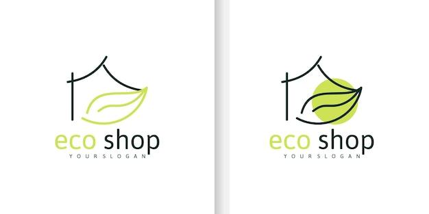 미니멀한 디자인의 에코 그린 샵 로고, 비즈니스용 로고 참조