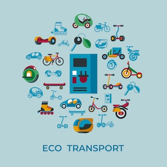Eco green transport technology icons set