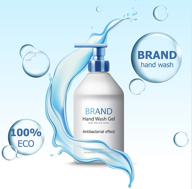 Eco hand wash gel with antibacterial effect container surrounded by bubbles and flowing water