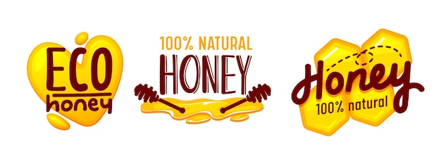 Eco honey and bee farm production tags or icons set isolated on white background. creative design elements with brown typography for advertising or package decoration. cartoon vector illustration