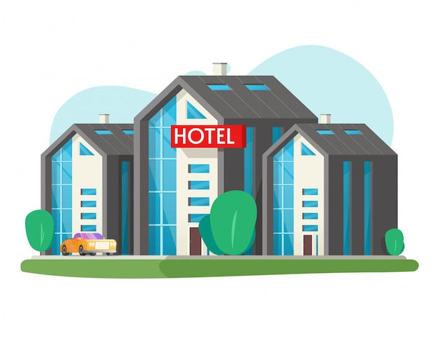 Eco hotel vector big building isolated and large motel in city town flat cartoon illustration