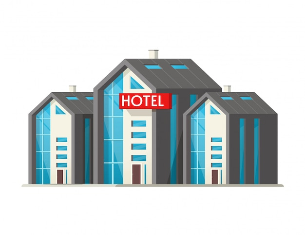 Eco hotel vector big building isolated on white background