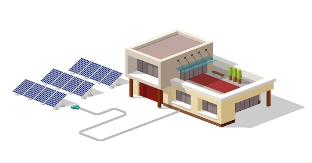 ソーラーパネル工場とつながるエコハウス Premiumベクター