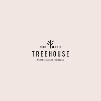 Eco house home treehouse mortgage real estate logo