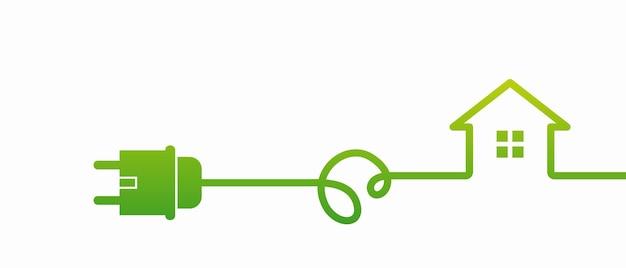 에코 하우스 아이콘입니다. 에너지 효율적인 집 개념, 플러그가 있는 전기 소켓. 연결 및 연결 해제 개념