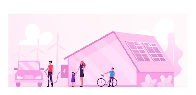 エコハウス、再生可能エネルギーと環境保護の概念。漫画フラットイラスト