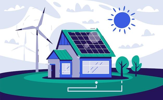 에코 하우스. 재생 에너지. 친환경 건축. 마을 생활. 지구 온난화, 폐기물 제로 및 그린피스 개념