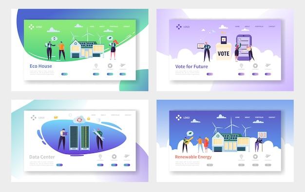 Набор посадочных страниц для возобновляемых источников энергии eco house. голосуйте за будущее и строите дом из материалов и технологий, которые уменьшают углеродный след веб-сайта или веб-страницы. плоский мультфильм векторные иллюстрации