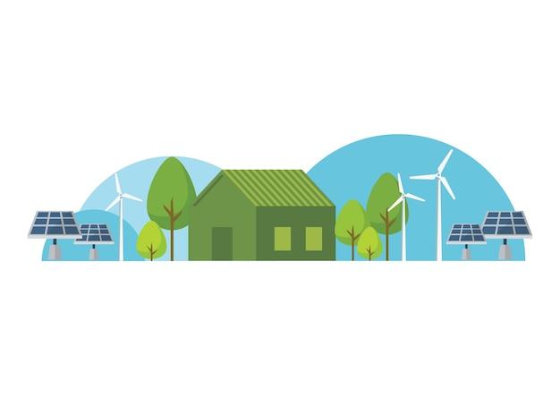 녹색 에너지가 있는 에코 하우스. 벡터 일러스트 레이 션